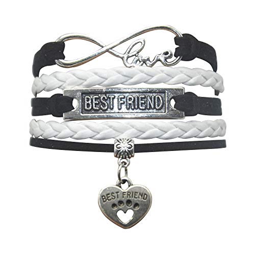 HHHbeauty Best Friend Friendship Bracelet (2018 Leather Infinity Love Friendship Gifts Best Friend Bracelets for Women, Men, Girls, Boys, Friends, Teens, Lovers (Black and White) -