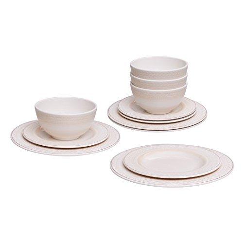 Mainstays Braided White 12 Piece Dinnerware Set