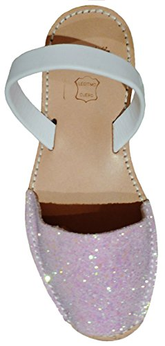 Auténticas avarcas menorquinas con suela beige, varios colores, GLITTER abarcas, albarcas, sandalias Glitter rosa candy tira blanco box con suela beige