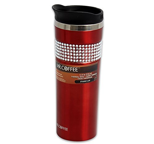 Mr. Coffee (91671.02) Studio Lux 12.5 oz Stainelss Steel Travel Coffee Mug - Red