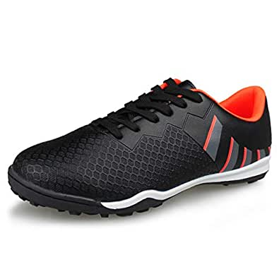 Hawkwell Men's Athletic Lightweight Running Outdoor/Indoor Comfortable Soccer Shoes Black Size: 7 US