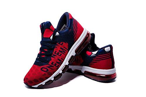 Onemix Air Mens Scarpe Da Ginnastica Da Donna Leggera Scarpe Sportive Con Sneakers Ammortizzate Mid-top Sneaker Unisex Adulto Rosso Blu