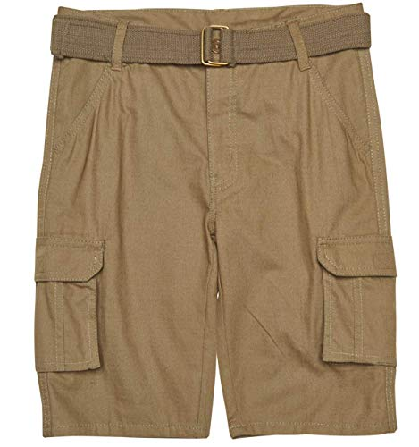 Kids Baggies Shorts - Quad Seven Boys Ripstop Belted Cargo Shorts, Olive 2, Size 8'