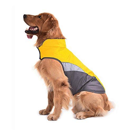 SILD Dog Jacket Outdoor Indoor Activities Waterproof Windproof Reflective Dog Cold Weather Winter Coat Dog Vest Autumn Pet Apparel for Small Medium Large Dog (XXL, Yellow)