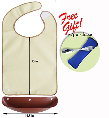 Waterproof adult bib with detachable crumb catcher (Beige)