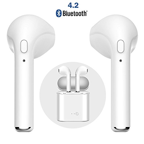Cellular Innovations Wireless Headset - Bluetooth Headphones, Mini Wireless Earbuds with Microphone Cordless In-Ear Earphones for iPhone X/8/7/7 Plus/6s/6s plus & Samsung Galaxy S9/S8/S7