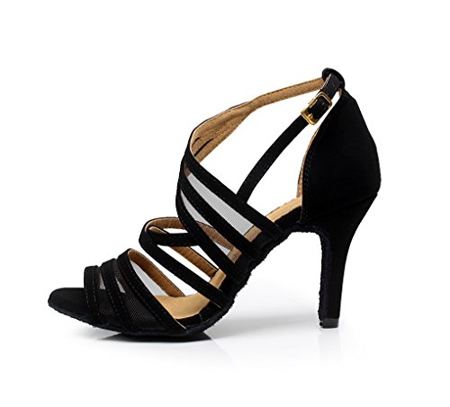 5 UK Tango Fashion Women's Strappy MINITOO Dance Ballroom 5 Black M Latin Suede QJ7036 Shoes 74xxqw6