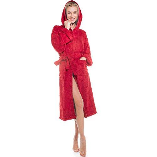 klassischer Bademantel für Damen & Herren   viele Farben alle Größen   Morgenmantel Baumwolle Frottee mit Kapuze   Föhr aqua-textil 1000348   rot M