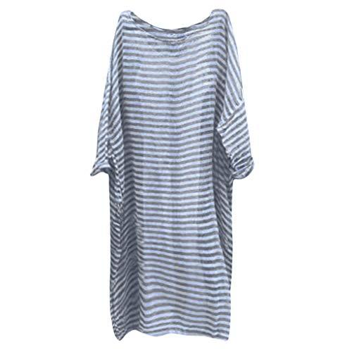 ZSBAYU Women Vintage Loose Striped Long Sleeve Casual Kaftan Boho Maxi Cotton Linen Dresses Plus Size(Gray,L) -