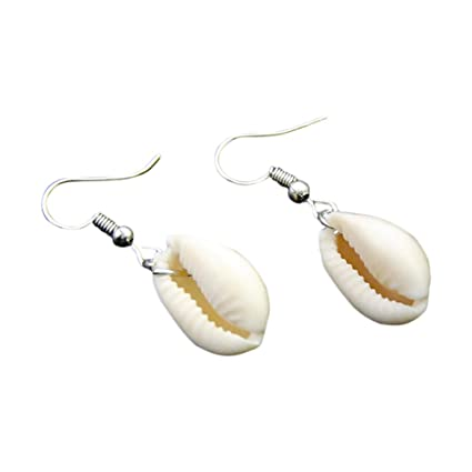 Joyfeel buy Pendiente Concha aretes Estilo de mar Pendiente Colgante Arete de Mujer aretes de aleación Plata (1 par)