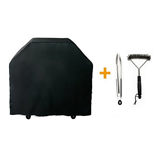 Wolf Outdoor Grills (Nextcover Universal Gas Grill Cover Kit, 64''600D Canvas Heavy Duty Fade Resistant BBQ Grill Cover for Weber, Char Broil, Holland, Jenn Air,Brinkmann–Black,Including BBQ Brush and Tongs N21G803A)