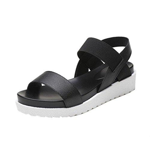 bescita Neue Fashion Sandalen Frauen IM Alter von Leder Flache Sandalen Damenschuhe Outdoor Damenschuhe (37, Schwarz)