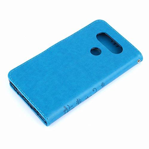 Yiizy LG V20 (H910, H918, LS997. US996. VS995) Custodia Cover, Erba Fiore Design Premium PU Leather Slim Flip Wallet Cover Bumper Protective Shell Pouch with Media Kickstand Card Slots (Blu)