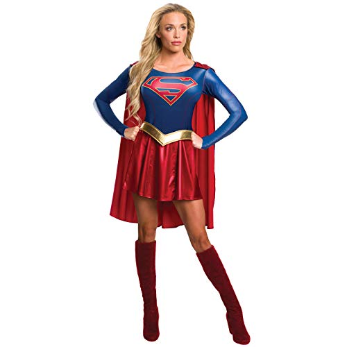 Superheroes And Villain Costumes (Rubie's Women's Supergirl Tv Show Costume Dress, As Shown,)