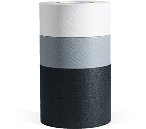 microGAFFER Tape 8 Yards x 1''- Multi Pack of 4 Rolls, Classic Colors (Black, Black, Gray, White) (MADE IN USA) by Microgaffer Classic (Image #1)