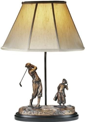amazon2best-SCULPTURE TABLE LAMP GOLF TRADITIONAL GOLFER AND CADDY 1-LIGHT RESIN NEW