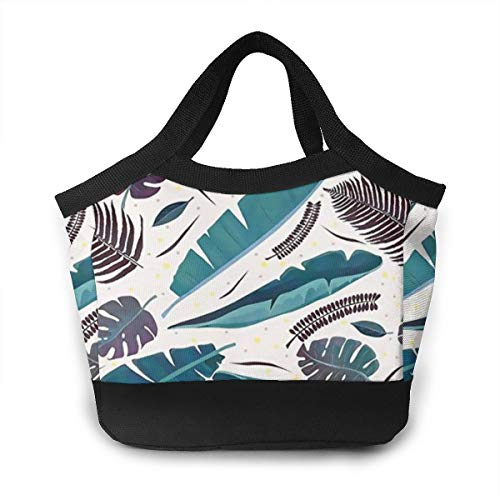 Vintage Cilantro - HuaFloralBoom Vintage Colored Tropical Cilantro Women Insulated Waterproof Lunch Bag Handbag Long Time Keep Food Hot/Cold Lunch Box Ice Bag for Menfor Work Office Outdoor Picnic Beach