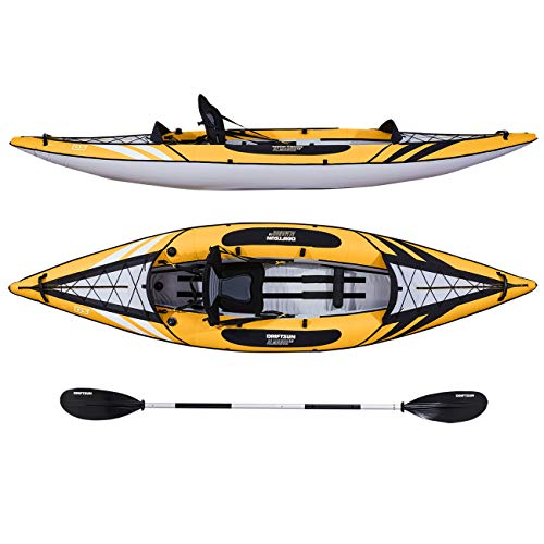 Driftsun Almanor 110 Single Person Recreational Touring Inflatable Kayak with EVA Padded Seat, Includes Paddle, Pump, Travel Bag - -