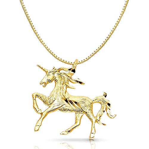 14K Yellow Gold Unicorn Charm Pendant with 0.8mm Box Chain Necklace - 16