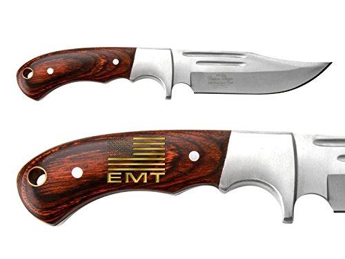 US-FLAG-Emergency-Medical-Team-Engraved-Hand-Painted-Gold-Elk-Ridge-ER-052-Pakkawood-Bolster-Full-Tang-Fixed-Blade-Hunting-Straight-Edge-Knife