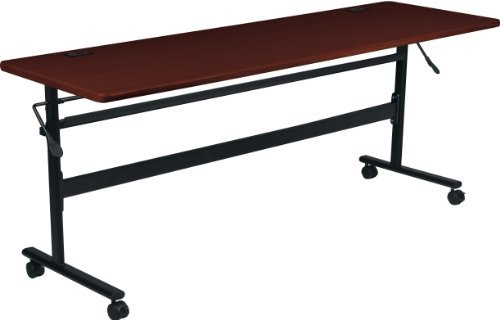 Conference Balt Office Table - MooreCo Essentials Flipper Training Table 72x24 Mahogany Top Black Base (90097)