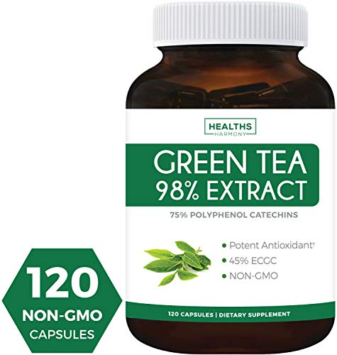 Green Tea Extract 98% - 1000mg with EGCG - 120 Capsules (Non-GMO) for Weight Loss & Metabolism Boost - Natural Diet Pills - Leaf Polyphenol Catechins - Antioxidant Supplement - - Weight Loss Accelerator