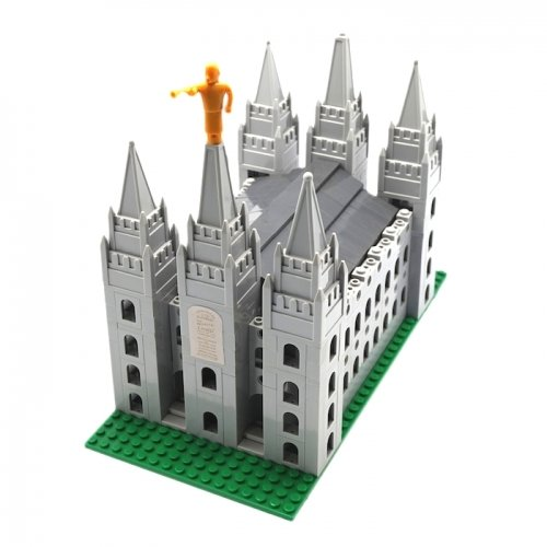 Image of Brick 'Em Young Small LDS Salt Lake Temple Toy Brick Building Set - 445 Pieces