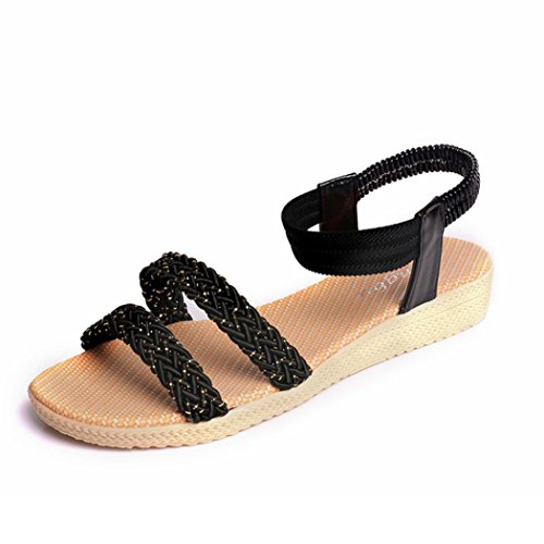 Transer Ladies Flat Sandals- Women Summer Bohemia Sandals Leisure Comfy Shoes Black kl6UevQUX