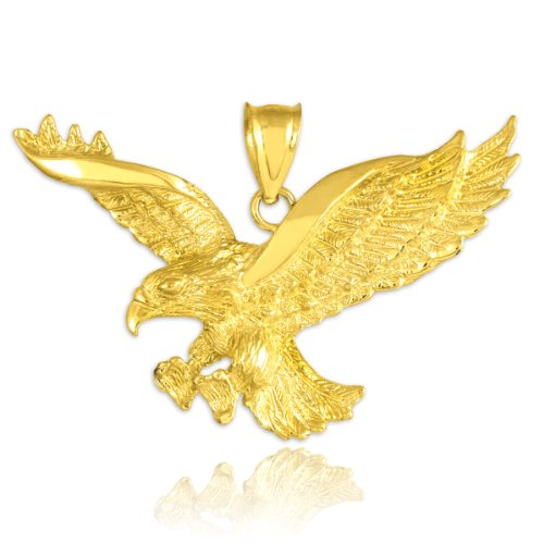 Animal Kingdom 14k Gold Flying Eagle Pendant
