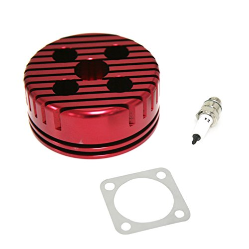 New CNC Red Cylinder Head And Spark Plug Set For Racing 66/80cc 2 Stroke Engine ()