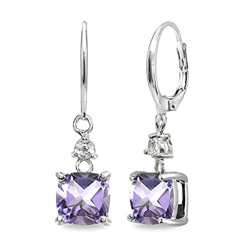Sterling Silver Amethyst & White Topaz 7mm Cushion-cut Dangle Leverback Earrings