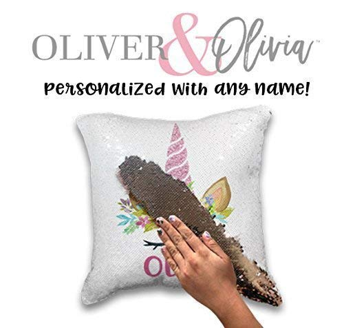 Personalized Unicorn Pillow Rose Gold Mermaid Pillow Personalized Mermaid Pillow Sequin Changing Pillow Personalized Pillow by Oliver and Olivia Apparel