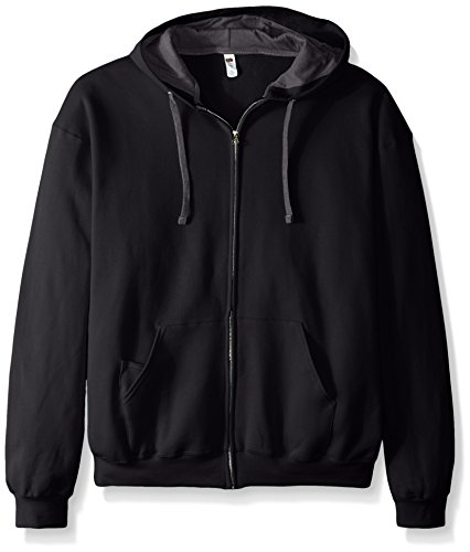 Fruit of the Loom Men's Full-Zip Hooded Sweatshirt, Black, XX-Large (Adult Black Zip Hoodie)