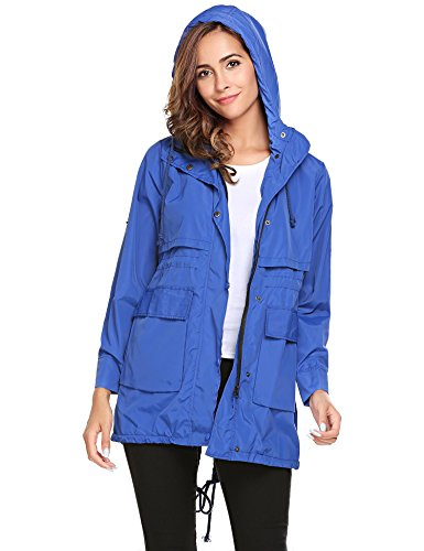 Hoodie Long Raincoat Lightweight Meaneor Drawstring Solid Jackets Sleeve Women Blue with w5R8qIR