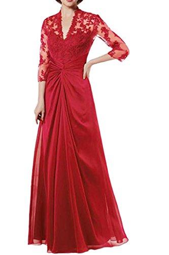 Victory Bridal Elegant Rot Brautmutter Lang Aermeln Abendkleider Ballkleider Aus Spitze Chiffon Bodenlang A-linie