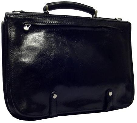 Alberto Bellucci Mens Italian Leather Comano Double Compartment Messenger Satchel Bag in Black