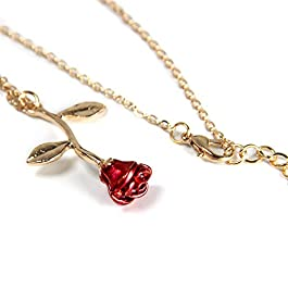 Arget 18k Gold and Silver Necklaces Women Personalized Long Necklaces Gold Necklace Rose Pendant Flower Jewelry for Girl Teen Women Wife Girlfriend Friends Gift Original