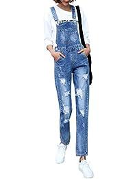 Womens Casual Baggy Straight Leg Bib Juniors Denim Overalls Pocket