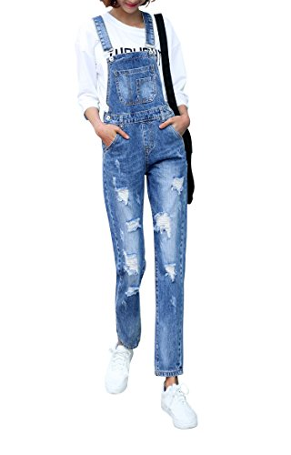 Women's Classic Bib Overalls Denim Blue Strap Ripped Hole Denim Jeans(04 Blue,XL) (Women Denim Overalls)