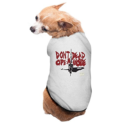 [Walking Dead Dont Dead Open Inside Logo Pet Cotton T-shirt Gray] (Michonne Walking Dead Dog Costume)
