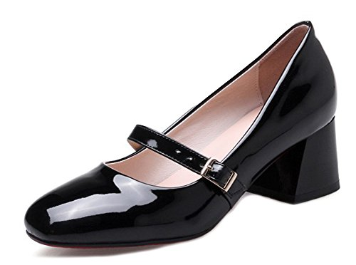 Aisun Women's Elegant Mid Chunky Heels Patent Leather Mary Jane Shoes Black