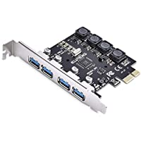 YingLoi PCIE USB 3.0 Card, ELUTENG 4 Ports PCI Expree to USB Expansion Card Super Speed 5Gbps PCI-e USB3 Hub Controller…