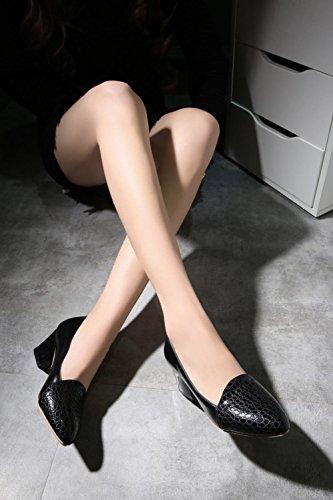 Charm Fot Womens Fashion Soild Färg Chunky Klack Pumpar Svart