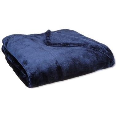 Queen Blanket Sumptuously Soft Plush Coral Fleece Mega Throw/reversible Bedspread (Navy)