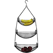 Home Basics 3-Tier Adjustable Chrome Heavy Duty Wire Hanging Fruit or Vegetable Kitchen Storage Baskets, Black Finish, Hammock Style