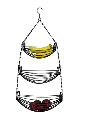 Home Basics 3-Tier Adjustable Chrome Heavy Duty Wire Hanging Fruit or Vegetable Kitchen Storage Baskets, Black Finish, Hammock Style ()