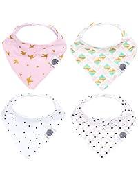 Parker Baby Bandana Drool Bibs – 4 Pack Baby Bibs for...