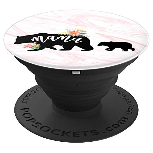 Mama Bear One Cub Rose Gold Floral Marble Mother's Day Mom - PopSockets Grip and Stand for Phones and Tablets -