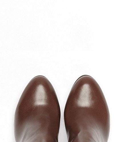 Poi Lei PoiLei Rena - Chelsea-Boot/Elegante Damen-Schuhe/Spitz-Zulaufende High-Heel Stiefelette Aus Echt-Leder - Ankle-Boot mit Block-Absatz und Elast-Einsatz Braun