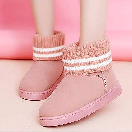 46494120b Amazon.com: Gold Happy Women Ankle Boots Winter Warm Fur Suede Snow ...